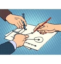 workshop business hands chart success vector image
