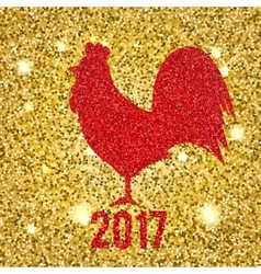 Glittering Red Rooster on golden glittering vector image vector image
