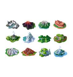 nature mountain landscapes set vector image vector image