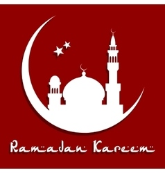 Ramadan Kareem Concept with mosque on a moon vector image