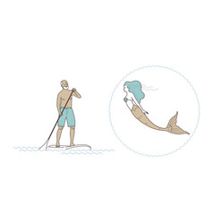 sup stand up paddling the old man vector image