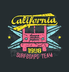 Surfing bus emblem in retro style vector image vector image