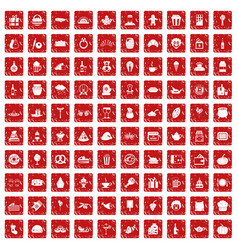 100 bounty icons set grunge red vector