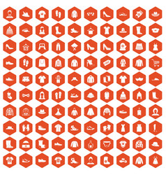 100 rags icons hexagon orange vector
