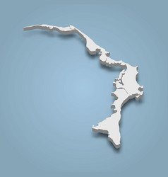 3d isometric map abaco is an island in bahamas vector