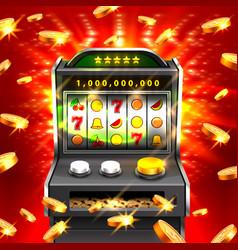 3d slots machine wins the jackpot vector image
