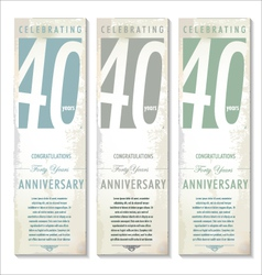 40 years anniversary retro banner set vector