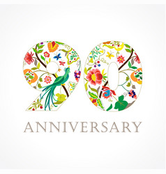 90 anniversary folk logo vector image