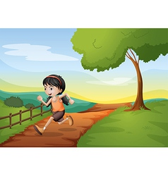 A girl running hurriedly at the hill vector