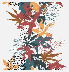 Abstract fall seamless pattern in retro colors vector