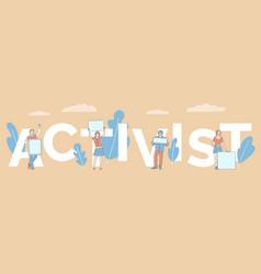 Activist word concept banner template advertising vector