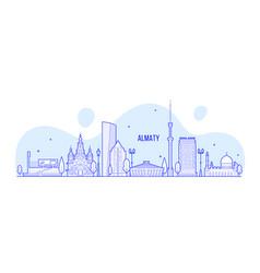 almaty skyline kazakhstan linear art city vector image
