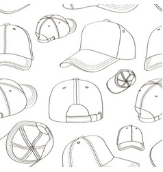 baseball cap set pattern vector image