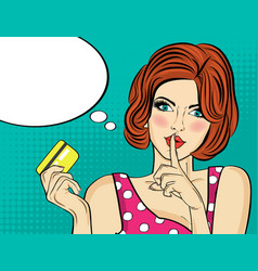 beautiful woman in pop art style with credit card vector image