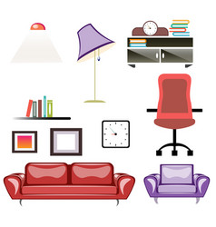 Big apartment furniture set vector