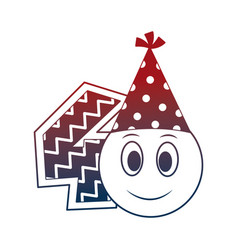 birthday emoticon party hat and number decoration vector image