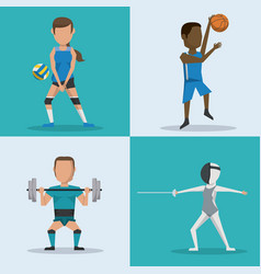 Blue and white square buttons set of athletes with vector