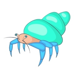 Blue hermit crab icon cartoon style vector image