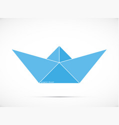 blue paper boat logo vector image