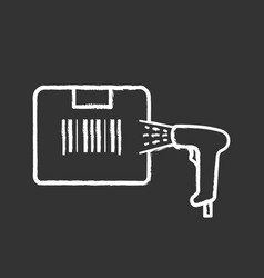 box label scanning with barcode scanner chalk icon vector image