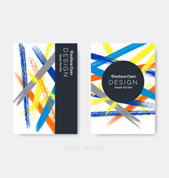 Brochure cover design grunge brush strokes vector