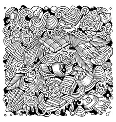 chocolate hand drawn doodles vector image