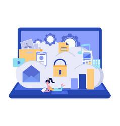 cloud storage security data storage security vector image