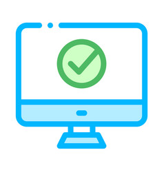 computer monitor and approved mark icon vector image