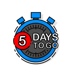 Countdown five days to go banner count time sale vector