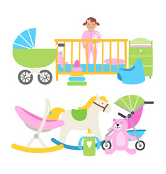 cute babies equipment for life collection vector image