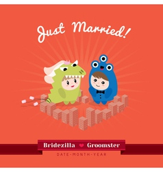 Cute kawaii groom monster and bridezilla character vector