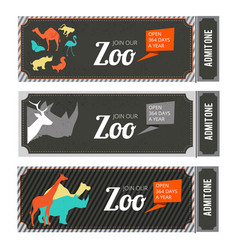 design template of zoo tickets with different wild vector image