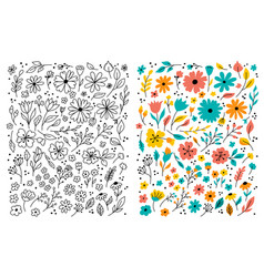 Doodle flowers hand drawn floral set children vector