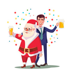 drunk man and santa claus corporate vector image