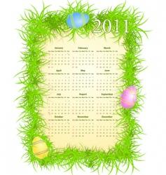 Easter calendar 2011 vector image
