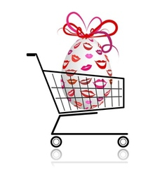 Easter egg in shopping cart for your design vector image