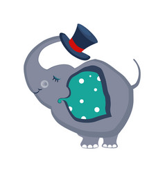 elephant holding a hat with the trunk vector image