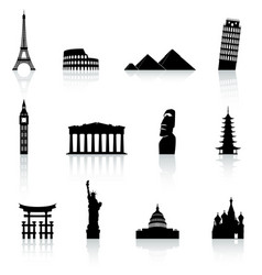 famous monument icons set vector image