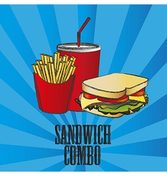 Fast food combo with a sandwich french fries and s vector