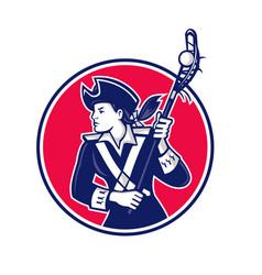 Female lacrosse player patriot mascot vector