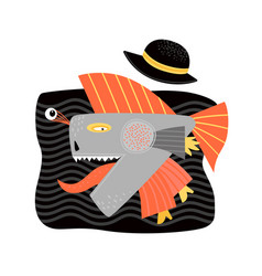 Funny crazy fish in a hat and boots cartoon vector