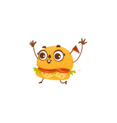 funny hamburger character with happy human face vector image