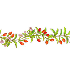 Goji branch pattern vector