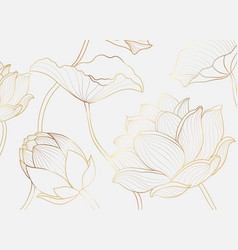 gold wallpaper luxury design with lotus flower vector image