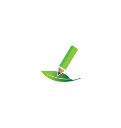 green pen write in the leaf natural plant for vector image