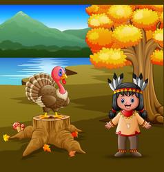 happy indian girl with turkey bird in the garden vector image