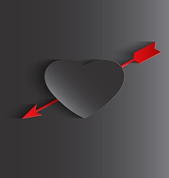 happy valentines day cards with heart and arrow vector image