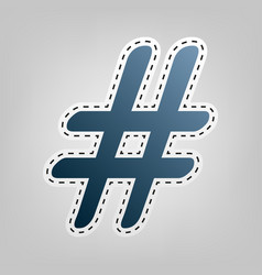 hashtag sign blue icon with vector image vector image