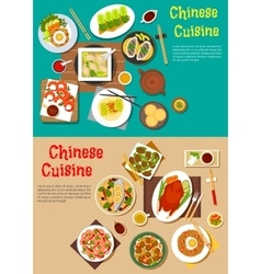 Healthy seafood and meat dishes of chinese cuisine vector