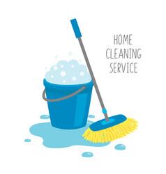 Home cleaning service mop and blue bucket full of vector